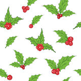 Holly Leaves and Red Berries hand drawn sketch retro, vintage Seamless Pattern. Vector Illustration. Royalty Free Stock Image