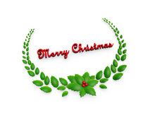 Holly leaves and red berry garland Stock Images