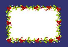 Holly Leaves Red Ribbons Border Frame 2. A background illustration featuring a frame or border of holly leaves and red ribbons set against blue Stock Image