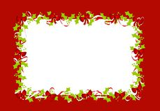 Holly Leaves Red Ribbons Border Frame Stock Images