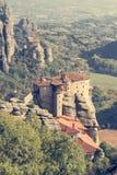 Holly monastery of Varlaam built on a tall rock Royalty Free Stock Photos