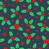 Holly pattern, Christmas pattern. Vector. Illustration stock illustration