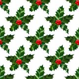 Holly Pattern. Colorful Christmas Background in Cartoon Style for Banners and Cards. Vector Illustration Royalty Free Stock Photos