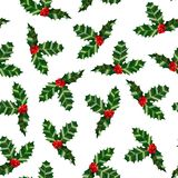 Holly Pattern. Colorful Christmas Background in Cartoon Style for Banners and Cards. Vector Illustration. Holly Seamless Pattern. Colorful Christmas Background Royalty Free Stock Photography