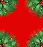 Holly with pine branches seasonal border frame. Holly with pine branches and red berries for a seasona christmas holiday decorative evergreen border frame Stock Image