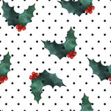 Holly polka dot seamless pattern. Christmas vector ornament Stock Photography