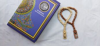 holly quran and tasbih, ramadhan kareem