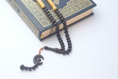Free Holly Quran With Beads On White Background , Close Up Stock Image - 177034091