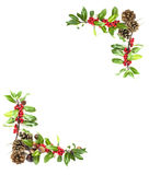 Holly and red berries border Royalty Free Stock Photos