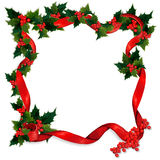Holly and ribbon border Stock Photo
