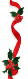 Holly ribbon decoration Stock Photos