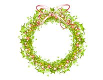 Holly Ribbons And Lights Wreath Stock Photography