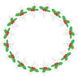 Holly round frame Royalty Free Stock Photography