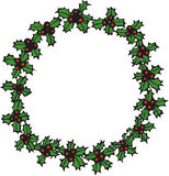 Holly round frame Royalty Free Stock Images