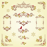 Holly Scroll Set Stock Photography