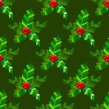 Holly Seamless Pattern. Dark Christmas Background in Cartoon Style. Vector Illustration. Holly Seamless Pattern. Dark Christmas Background in Cartoon Style for Royalty Free Stock Photos