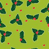 Holly seamless pattern vector illustration on green background. On green background vector illustration