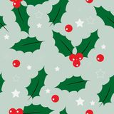 Holly seamless pattern vector illustration on green background stock illustration