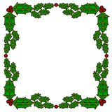 Holly stained glass border Royalty Free Stock Image