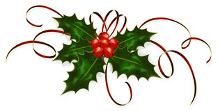 Holly and tinsel. Illustration of a holly berries and tinsel isolated on a white background Stock Photography