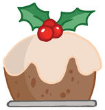 Holly topped christmas pudding Royalty Free Stock Images