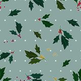 Holly tree on light blue background Royalty Free Stock Photos