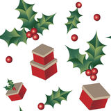 Holly and vintage gifts seamless Christmas background. Tile Stock Photos