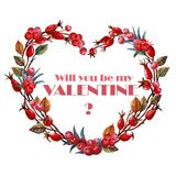 Holly watercolor heart with rose hips. Be my Valentine title. Valentine's day. Wedding. Engagement Stock Photography