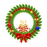 Holly wreath. With christmas decorations Stock Photo