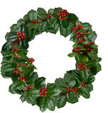 Holly Wreath. Christmas Holly Wreath Decoration Photograph royalty free stock photography
