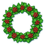 Holly Wreath. Digital illustration of holly plants arranged in a wreath Royalty Free Stock Photography