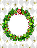 Holly wreath frame Royalty Free Stock Images