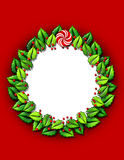 Holly wreath frame Royalty Free Stock Photo