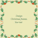 Holly on a yellow background. Vector image. Design Christmas frames for presentations, title sequences, wipes Stock Photo