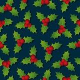 Hollyberry. Christmas seamless pattern. Festive Christmas background. Stock Image