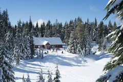 Hollyburn Lodge on a sunny day in winter on Cypress Mountain royalty free stock image