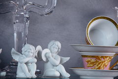Hollyday dishes. Shelf with different brand new hollyday dishes Stock Images