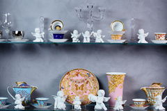 Hollyday dishes. Shelf with different brand new hollyday dishes Stock Photo