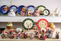 Hollyday dishes. Shelf with different brand new hollyday dishes Royalty Free Stock Photos