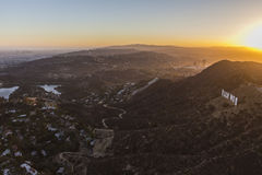 Hollywod Hills Setting Sun Aerial Los Angeles Royalty Free Stock Photo