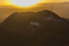 Hollywod Sign with Setting Sun Stock Photos