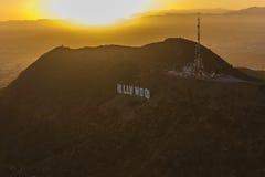 Hollywod Sign with Setting Sun Stock Photos