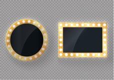 Hollywood światła Iluminujący realistyczny sztandar odizolowywający na przejrzystym tle Wektorowe połysku sznurka żarówki Vegas,  ilustracja wektor
