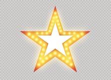 Hollywood światła Iluminujący realistyczny sztandar odizolowywający na przejrzystym tle Wektorowe połysku sznurka żarówki Vegas,  royalty ilustracja