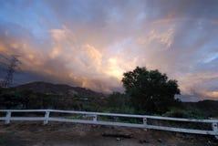 hollywood над знаком радуги Стоковые Изображения RF