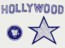 Hollywood. Doodle style. Sketch vector Royalty Free Stock Images