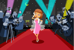 Hollywood Actress on the red carpet. Surrounded by the paparazzi Royalty Free Stock Photo