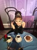 Hollywood aktris Audrey Hepburn Waxwork Arkivfoto