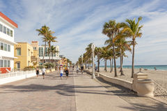 Hollywood Beach Broad Walk, Florida. Hollywood Beach, Fl, USA - March 13, 2017: People strolling at the Hollywood Beach Broad Walk on a sunny day in March Stock Photo