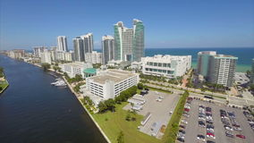 Hollywood Beach FL aerial video stock footage